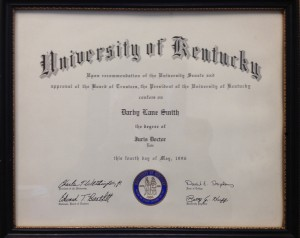 University of Kentucky College of Law Diploma